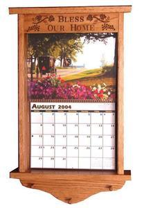Amish Hardwood Carved Calendar Frame