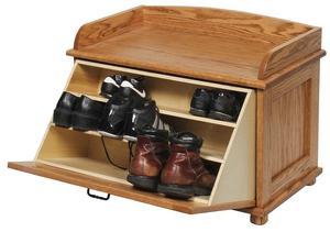 Amish Oak Wood Shoe Storage Blanket Chest