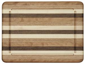 Amish Multi Wood Large Rectangle Cutting Board with Groove