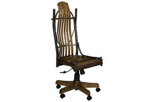 Amish Rustic Hickory Twig Desk Chair without Arms