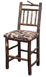 Amish Early American Four Spindle Hickory Stool with Branch Top