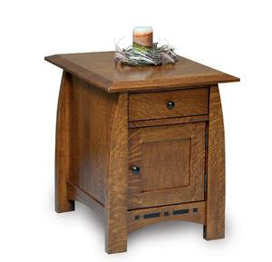 Amish Boulder Creek Mission Enclosed End Table with Drawer and Door