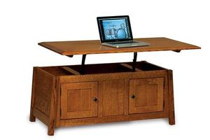 Amish Colbran Mission Enclosed Lift Top Coffee Table with Doors