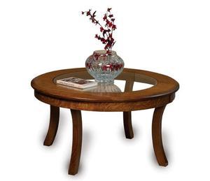 Amish Carlisle Round Glass-Top Coffee Table