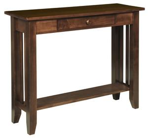 Amish Hardwood Large Mission Hall Table with Drawer