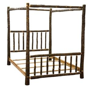 Amish Rustic Hickory Canopy Bed