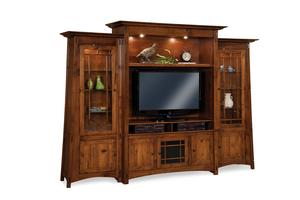 Amish Mission Colbran Entertainment Center Wall Unit with Side Bookcases