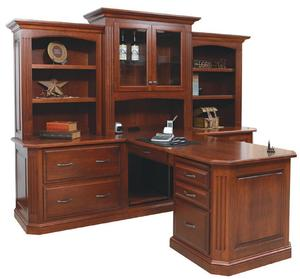 Amish Buckingham Partner Desk with Three-Piece Hutch