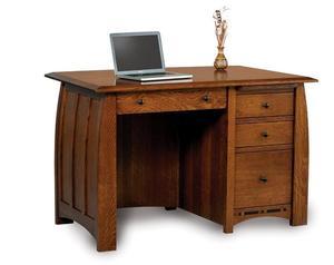 Amish Boulder Creek Four Drawers Desk with Unfinished Back