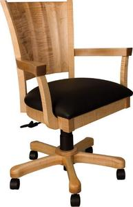 Amish Marcelle Ripple Back Office Chair with Leather