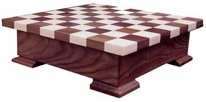 Amish Walnut and Maple Wood Checker and Chess Set with Storage