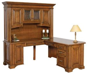 """Amish Lincoln 72"""" L Corner Desk with Optional Hutch Top"""