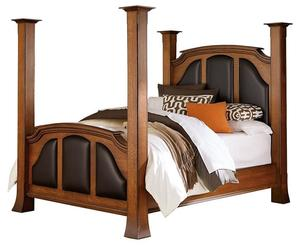 Amish Breckenridge Bed with Leather Headboard