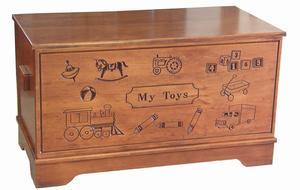 Amish Hardwood Large Carved Toy Chest