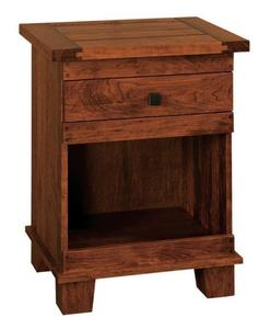 Amish Juno Nightstand with Drawer and Open Storage
