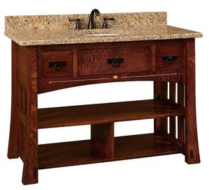"Amish 49"" Marquette Mission Single Bathroom Vanity Cabinet with Inlays"