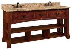 "Amish 72"" Mesa Mission Double Bathroom American Vanity Cabinet with Inlays"