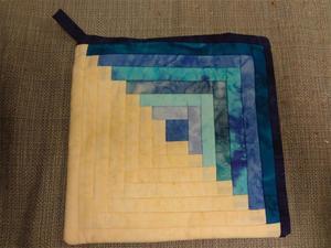 Amish Quilted Log Cabin Hot Pad Blue Batiks Fabrics