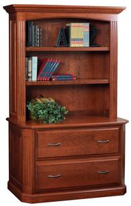 Amish Buckingham Lateral File Cabinet with Optional Bookshelf