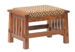 Amish Country Upholstered Ottoman with Mission Slats or Shaker Panels