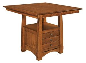 Amish Colebrook Mission Dining Table with Storage Cabinet