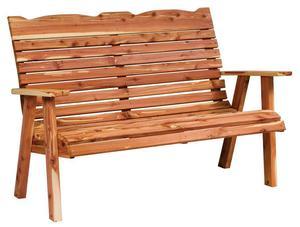 Amish Cedar Wood Straightback Outdoor Bench