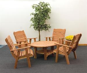 Amish Cedar Wood Coffee Table and Chair Set