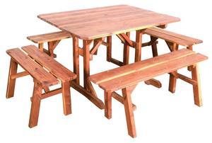 Amish Cedar Wood 5 Piece Picnic Table Set