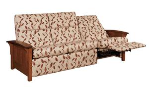 Amish Skyline Panel Mission Reclining Sofa with Power Recline Option