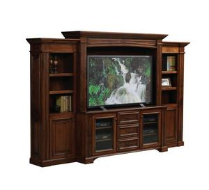 Amish Lincoln Entertainment Center with Side Bookcases