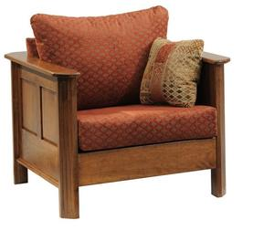 Amish Franchi Fabric Lounge Chair with Wood Trim