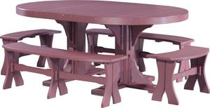 LuxCraft Oval Poly Dining Set with Benches