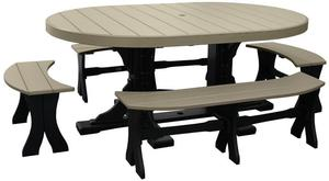 LuxCraft Oval Poly Outdoor Oval Dining Table Set with Benches