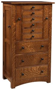 "Amish 48"" Lynchburg Deluxe Flush Mission Jewelry Armoire with Pull Out Doors"