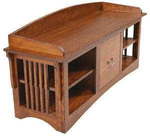 Amish Mission Slat Bench with Adjustable Shelves