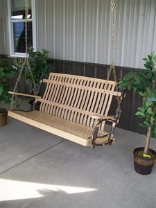 Amish Rustic Hickory Outdoor Swing with Natural Finish