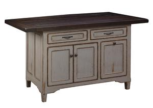 Amish Solid Wood Kitchen Island - Lexington Three Doors and Two Drawers