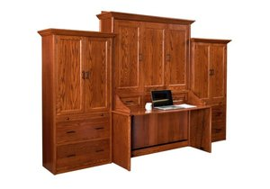 Logan Murphy Wall Bed and Desk with Side Storage Units