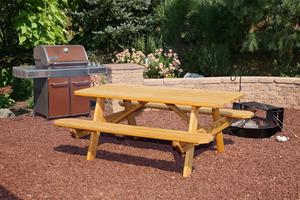 Amish Yellow Pine Wood Rectangular Picnic Table