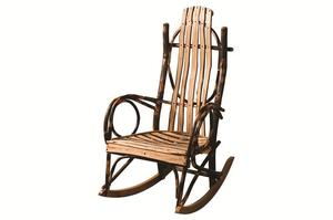 Amish Rustic Hickory Rocker with Live Edge Slats