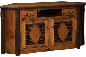 Amish Rustic Hickory Wood Corner TV Stand
