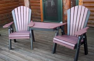 Amish Seaside Dining Height Poly Composite Adirondack Tete-A-Tete Set