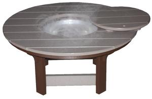 Amish Made Seaside Poly Composite Round Coffee Table with Optional Ice Bucket Bowl