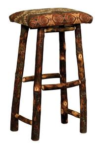 Amish Upholstered Rustic Hickory Twig Backless Stool