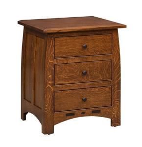 Amish Rosewood Three Drawer Nightstand