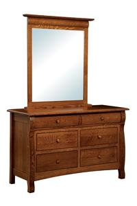 Amish Emerson Six Drawer Dresser with Optional Mirror