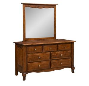 Amish French Country Seven Drawer Dresser with Optional Mirror