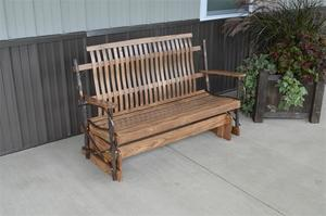 Amish Rustic Hickory Wood Porch Glider