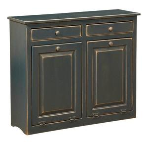 Amish Two Bin Tilt Out Laundry Hamper Cabinet - Pine Wood