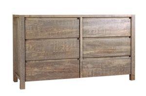Ruff Sawn Twin Falls Six Drawer Dresser - Quick Ship